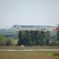Helvetic Air, Zürich - Budapet repülőjárat ( repülőgép típus: Fokker 100, felségjel: HB-JVC)